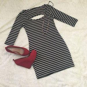 Soprano Navy and White Striped 3/4 Sleeve Mini